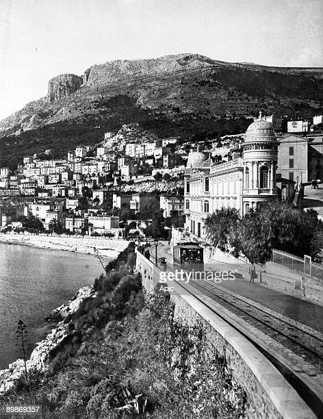 MonteCarlo view of the area called La Condamine with the tramway Beau Rivage hotel 1900