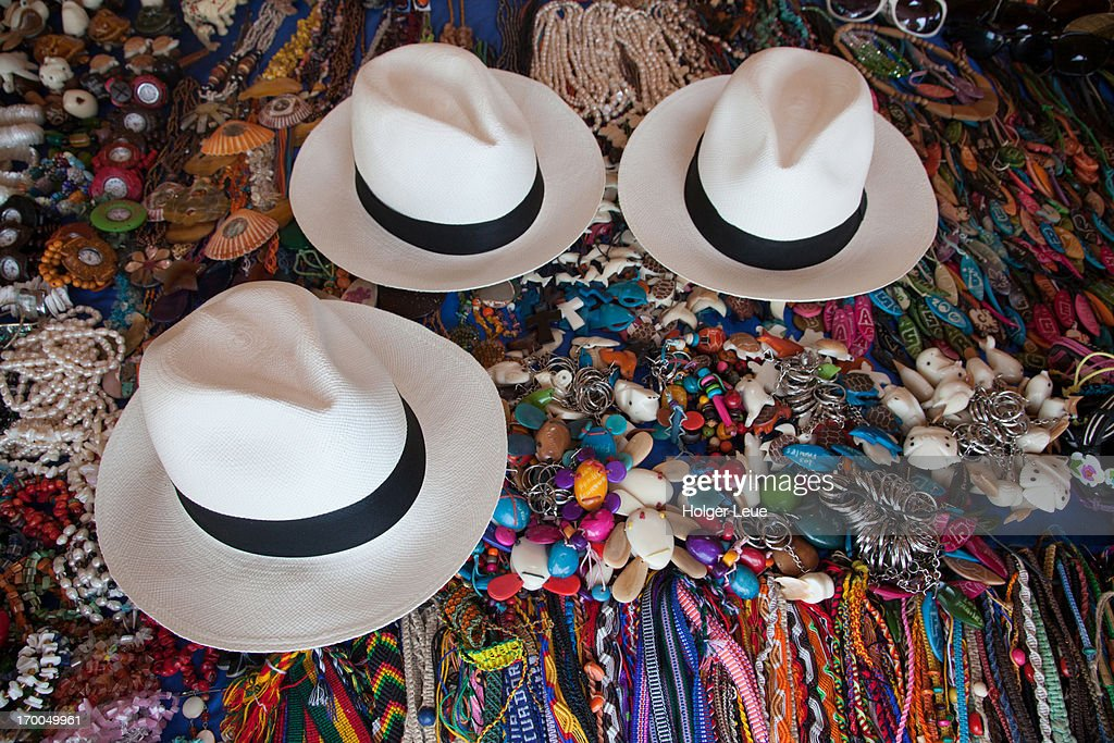 Montecristi Panama hats for sale at craft market : Stock Photo