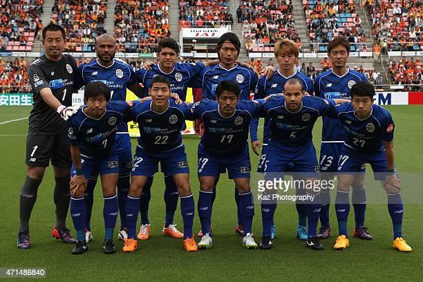 Montedio Yamagata players line up for the team photos prior to the JLeague match between Shimizu SPulse and Montedio Yamagata at IAI Stadium...
