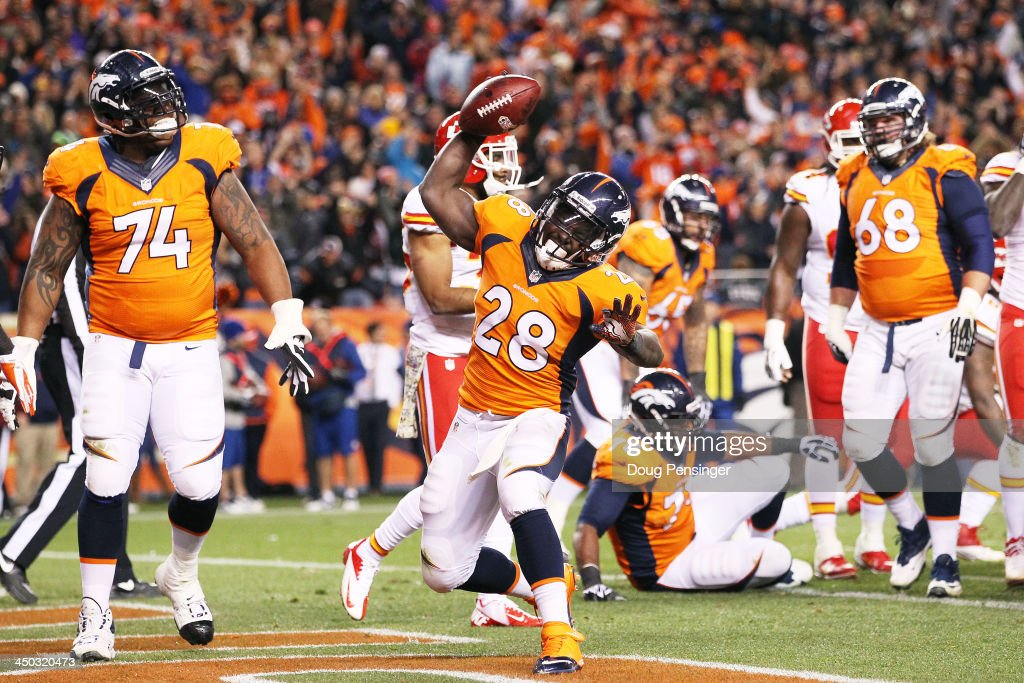 Montee Ball #28 of the Denver Broncos celebrates scoring a second quarter touchdown against the Kansas City Chiefs at Sports Authority Field at Mile High on November 17, 2013 in Denver, Colorado.