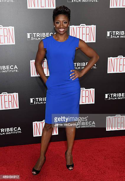 Montego Glover attends 'The Intern' New York Premiere at Ziegfeld Theater on September 21 2015 in New York City
