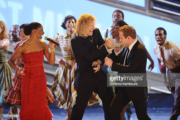 Montego Glover David Bryan and Chad Kimball and cast of Memphis onstage during the 64th Annual Tony Awards at Radio City Music Hall on June 13 2010...
