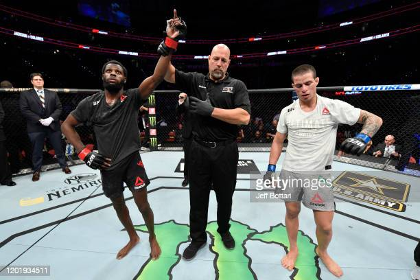 Montel Jackson celebrates his victory over Felipe Colares of Brazil in their bantamweight bout during the UFC Fight Night event at PNC Arena on...