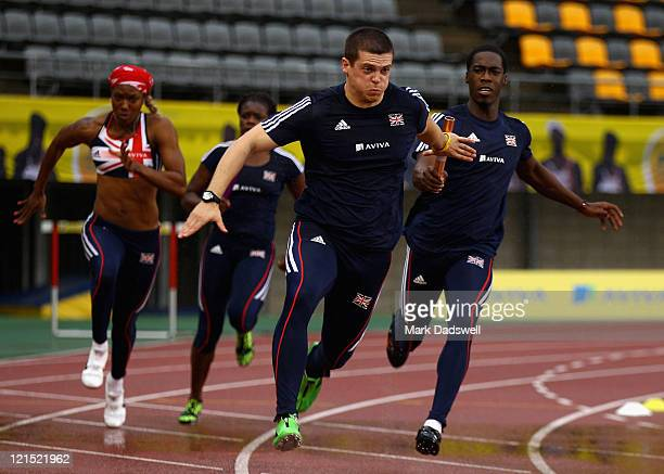 Montell Douglas Asha Philip Craig Pickering and Christian Malcom of Great Britain and Northern Ireland train at the Ulsan Sports Complex during the...