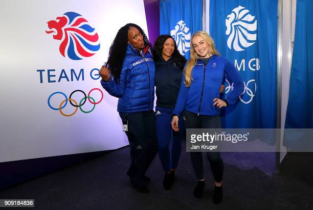 Montell Douglas Mica Moore and Mica McNeil pose during the Team GB Kitting Out Ahead Of Pyeongchang 2018 Winter Olympic Games at Adidas headquarters...