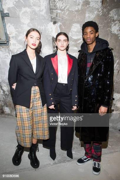 Montell Martin Iris Law and Mae Muller attend the 'Here We Are' Burberry Exhibition as part of Paris Fashion Week on January 24 2018 in Paris France