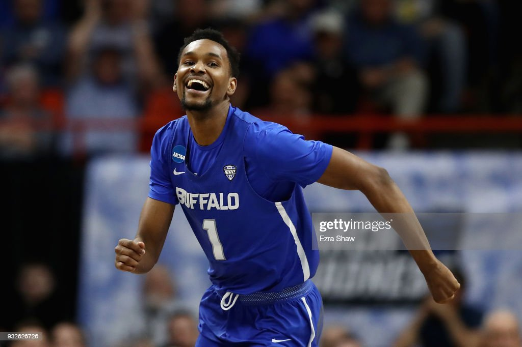 Montell McRae #1 of the Buffalo Bulls celebrates after drawing a charge in the second half against the Arizona Wildcats during the first round of the 2018 NCAA Men's Basketball Tournament at Taco Bell Arena on March 15, 2018 in Boise, Idaho.