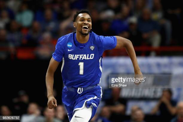 Montell McRae of the Buffalo Bulls celebrates after drawing a charge in the second half against the Arizona Wildcats during the first round of the...