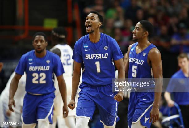 Montell McRae of the Buffalo Bulls reacts during the second half against the Kentucky Wildcats in the second round of the 2018 NCAA Men's Basketball...