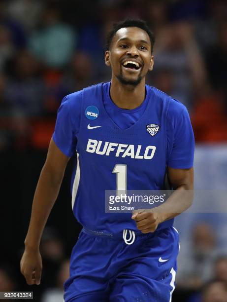 Montell McRae of the Buffalo Bulls reacts in the second half against the Arizona Wildcats during the first round of the 2018 NCAA Men's Basketball...