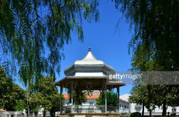 Montemor-o-Novo - bandstand surrounded by trees - public garden, Alentejo, Portugal
