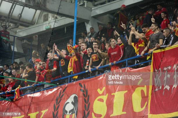 Montenegrian fans during the 2020 UEFA European Championships group A qualifying match between Montenegro and England at Podgorica City Stadium on...