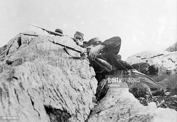 Montenegrin soldiers seen here fight elements of the Austro Hungarian invasion forces in the mountains Circa 1915