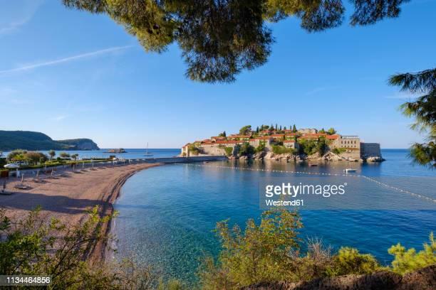 Montenegro, Adriatic Coast, Hotel Island Sveti Stefan and beach, near Budva
