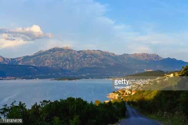 montenegro, bay of kontor, peninsula lustica, krasici near tivat, lovcen mountain - kontor stock pictures, royalty-free photos & images