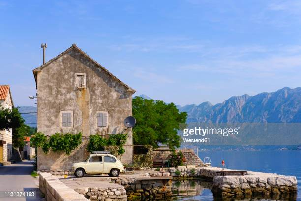 montenegro, bay of kotor, muo, fiat 500 - kotor bay stock pictures, royalty-free photos & images