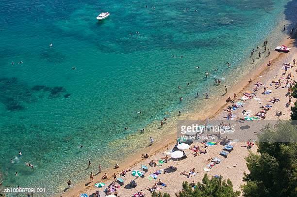 Montenegro, Budva Rivera, Mogren beach, aerial view