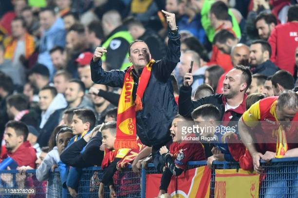 Montenegro fan gestures during the 2020 UEFA European Championships group A qualifying match between Montenegro and England at Podgorica City Stadium...