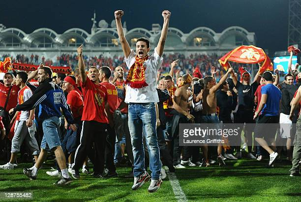 Montenegro fans after the UEFA EURO 2012 group G qualifier between Montenegro and England at the City Stadium on October 7 2011 in Podgorica...