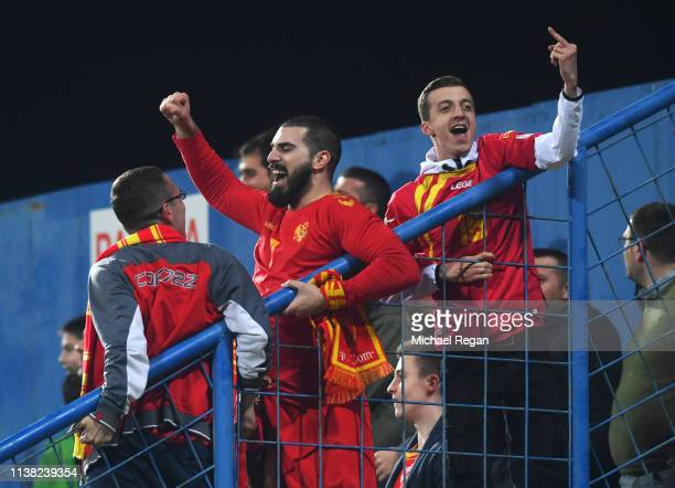 Montenegro fans celebrate as Marko Vesovic of Montenegro scores his team's first goal during the 2020 UEFA European Championships Group A qualifying...