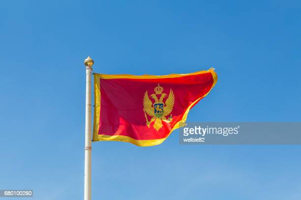 montenegro flag flapping in the wind - montenegro photos et images de collection