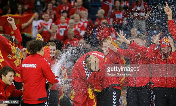 Montenegro handball team players celebrate during the Women's European Handball Championship 2012 medal ceremony at Arena Hall on December 16 2012 in...
