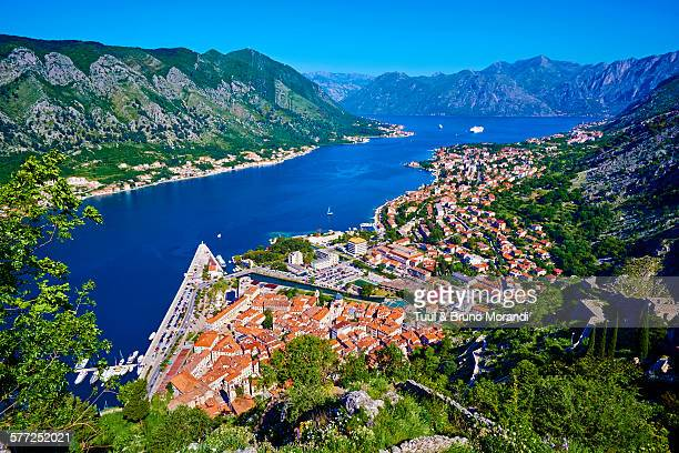 montenegro, kotor bay and city - kotor bay stock pictures, royalty-free photos & images