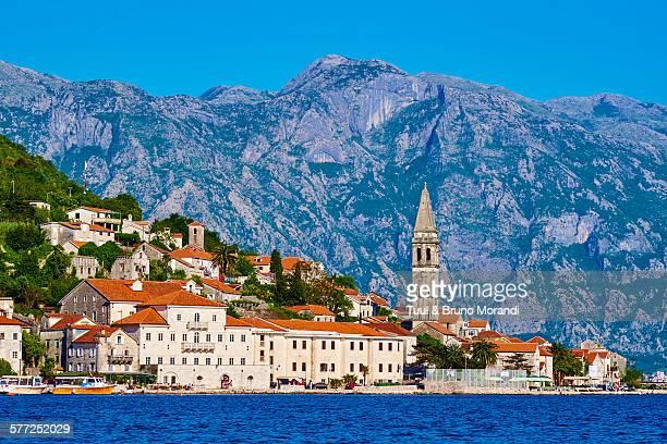 montenegro, kotor bay, perast village - kotor bay stock pictures, royalty-free photos & images