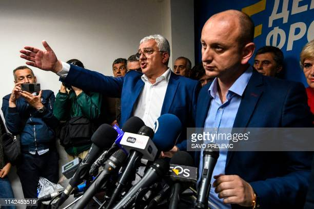 Montenegro opposition leaders Andrija Mandic and Milan Knezevic attend a news conference after being convicted by a Montenegrin court in Podgorica on...