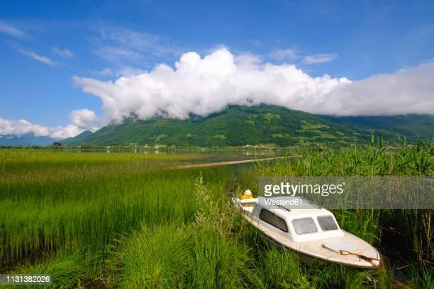 montenegro, plav, plavsko jezero, motorboat at lakeside - montenegro photos et images de collection