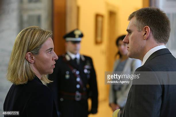 Montenegro's Foreign Minister Igor Luksic meets with Italian Foreign Affairs Minister Federica Mogherini in Rome Italy on April 15 2014