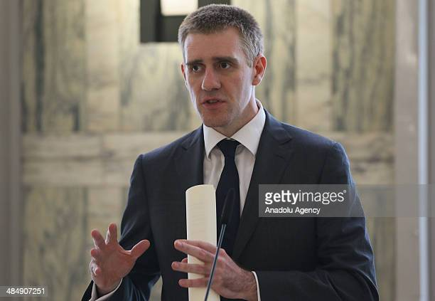 Montenegro's Foreign Minister Igor Luksic speaks during a press conference with Italian Foreign Affairs Minister Federica Mogherini in Rome Italy on...