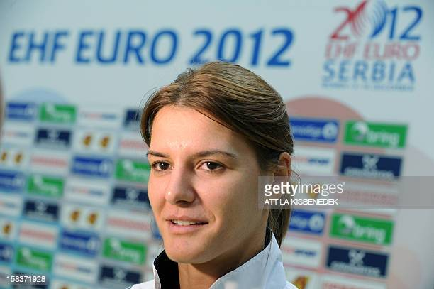 Montenegro's Katarina Bulatovic answers a journalist's question on the media day of the 2012 EHF European Women's Handball Championship on December...