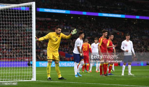 Montenegro's Mian Mijatovic during the UEFA Euro 2020 qualifier between England and Montenegro at Wembley Stadium on November 14 2019 in London...
