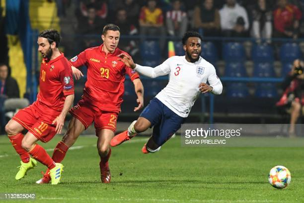 Montenegro's midfielder Marko Jankovic Montenegro's midfielder Adam Marusic and England's defender Danny Rose vie for the ball during the Euro 2020...