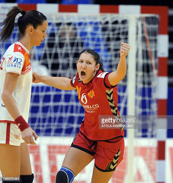 Montenegro's Milena Knezevi celebrates her score against Spain's Begona Fernandez during the 2012 EHF European Women's Handball Championship Group II...