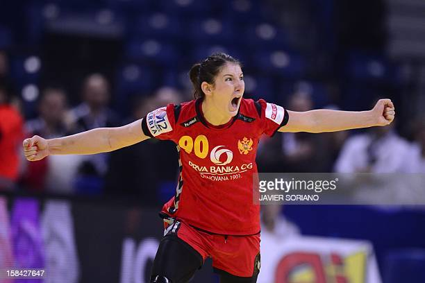 Montenegro's Milena Knezevic celebrates a goal during the 2012 EHF European Women's Handball Championship final match Norway vs Montenegro on...