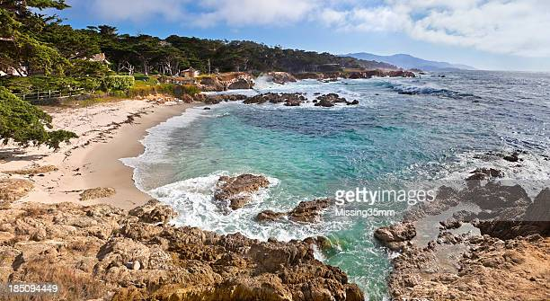 monterey bay coastline - pebble beach california stock pictures, royalty-free photos & images