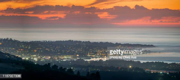 monterey california at sunset panorama - city of monterey california stock pictures, royalty-free photos & images