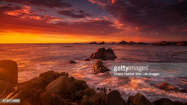 monterey peninsula sunset - monterrey stock pictures, royalty-free photos & images