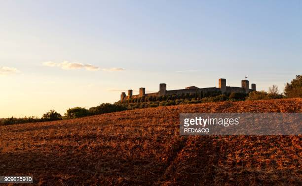 Monteriggioni medieval walled town Tuscany Italy Europe