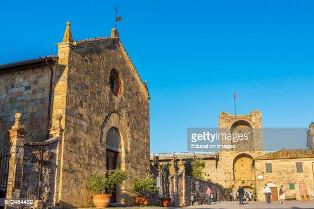 Monteriggioni Siena Province Tuscany Italy The Church of Santa Maria in the Piazza Roma Pieve di Santa Maria Assunta The church and the walled...