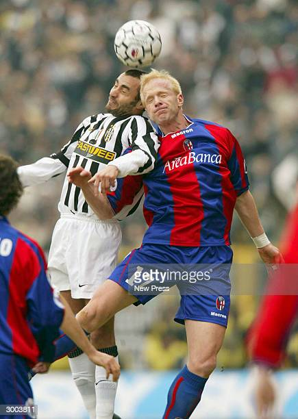 Montero and Taro clash during the Serie A match between Bologna and Juventus on February 22 in Bologna Italy The match finished with Juventus winning...