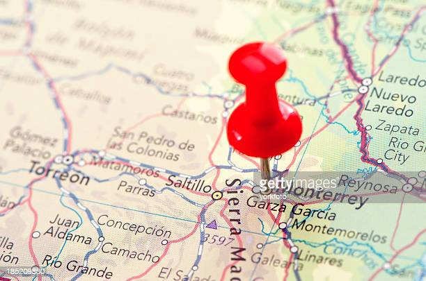monterrey map - cartography stock photos and pictures