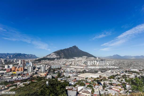 monterrey, mexico and the sierra madre oriental panorama - monterrey mexico stock photos and pictures