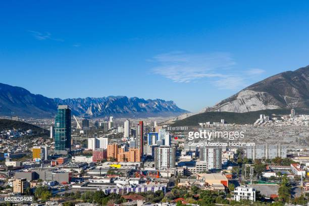 monterrey, mexico and the sierra madre oriental panorama - monterrey stock pictures, royalty-free photos & images
