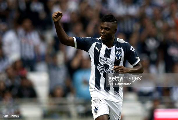 Monterreys Aviles Hurtado celebrates after scoring against Atlas during their Mexican Apertura 2017 tournament football match at the BBVA Bancomer...