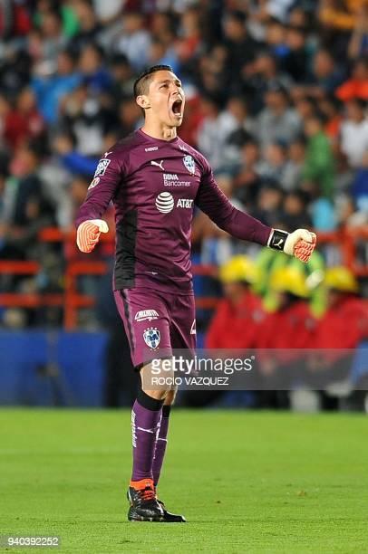 Monterrey's goalkeaper Hugo Gomzalez celebrates their goal against Pachuca during their Mexican Clausura tournament football match at the Hidalgo...