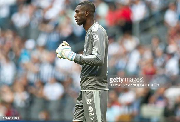 Monterrey's goalkeeper Alexander Dominguez celebrates after his team scored against Puebla during the Mexican Apertura 2016 tournament football match...