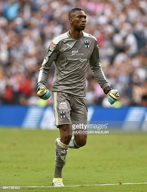 Monterrey's goalkeeper Alexander Dominguez celebrates after his team scored against Cruz Azul during their Mexican Apertura 2016 tournament football...